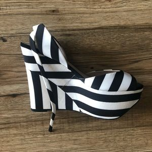 Zara Black & White Striped Platform Wedges